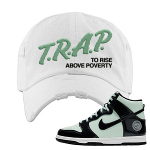 Dunk High All Star 2021 Distressed Dad Hat | Trap To Rise Above Poverty, White