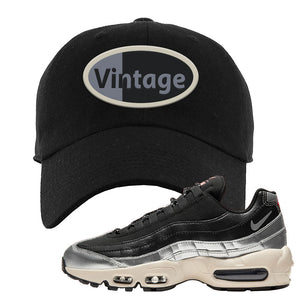 3M x Nike Air Max 95 Silver and Black Dad Hat | Vintage Oval, Black