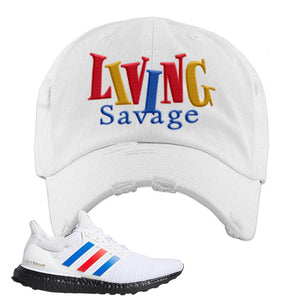 Ultra Boost White Red Blue Distressed Dad Hat | White, Living Savage