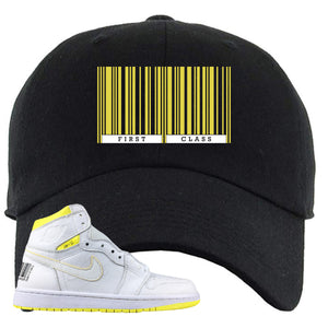 Air Jordan 1 First Class Flight First Class Barcode Black Sneaker Matching Dad Hat