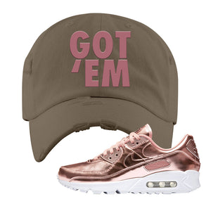 Air Max 90 WMNS 'Medal Pack' Rose Gold Sneaker Khaki Distressed Hat | Hat to match Nike Air Max 90 WMNS 'Medal Pack' Rose Gold Shoes | Got Em