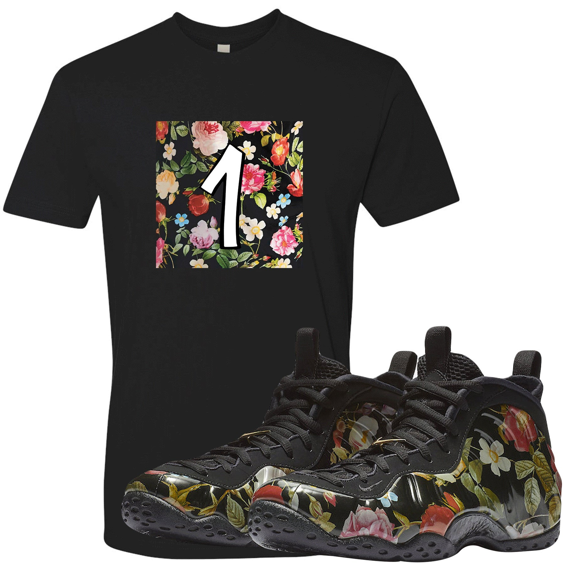 reputable site ed094 75e03 Wear this sneaker matching t-shirt to match your Air Foamposite One Floral  sneakers.