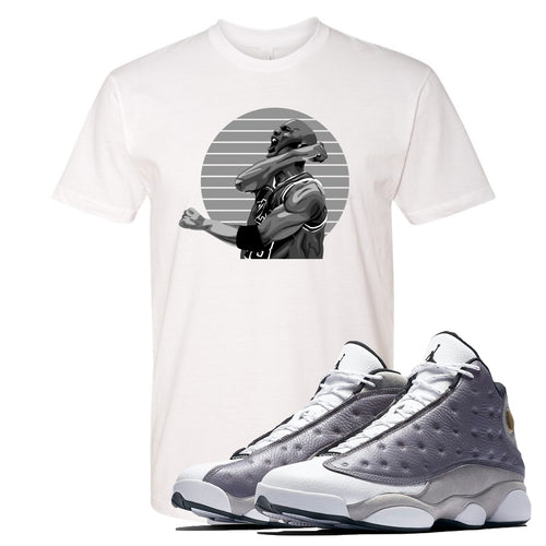 Jordan 13 Atmosphere Grey Jordan Scream White Shirt