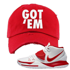 Kyrie 6 White University Red Distressed Dad Hat | Got Em, Red