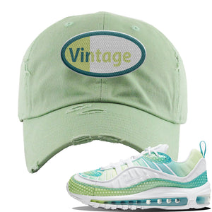 WMNS Air Max 98 Bubble Pack Sneaker Sage Green Distressed Dad Hat | Hat to match Nike WMNS Air Max 98 Bubble Pack Shoes | Vintage Oval