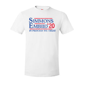 Simmons and Embiid 2020 T-Shirt | Ben Simmons and Joel Embiid 2020 White T-Shirt the front of this shirt has the simmon embiid 2020 design