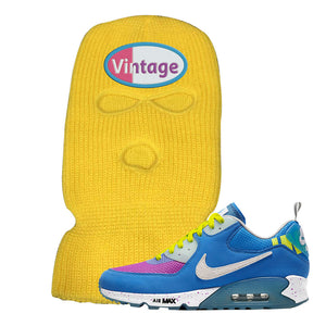 Undefeated x Air Max 90 Pacific Blue Sneaker Safety Yellow Ski Mask | Winter Mask to match Undefeated x Nike Air Max 90 Pacific Blue Shoes | Vintage Oval