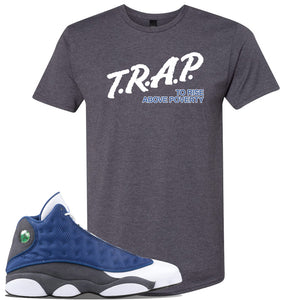 Jordan 13 Flint 2020 Sneaker Charcoal T Shirt | Tees to match Nike Air Jordan 13 Flint 2020 Shoes | Trap To Rise