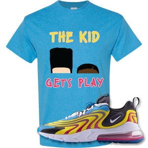 The Kid Gets Play Heather Sapphire T-Shirt to match Air Max 270 React ENG Laser Blue Sneakers
