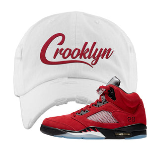 Air Jordan 5 Raging Bull Distressed Dad Hat | Crooklyn, White