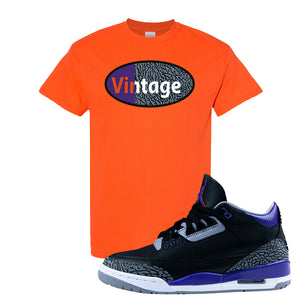 Air Jordan 3 Court Purple T Shirt | Vintage Oval, Orange
