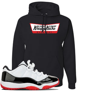 Jordan 11 Low White Black Red Sneaker Black Pullover Hoodie | Hoodie to match Nike Air Jordan 11 Low White Black Red Shoes | Krispy Kicks