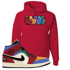 Jordan 1 Mid Fearless Blue The Great Blue Red Sneaker Hook Up Pullover Hoodie