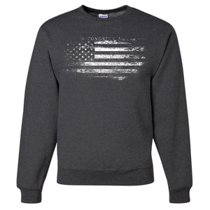 Standard Issue Constitution Distressed American Flag Dark Gray Grunt Life Crewneck Sweater