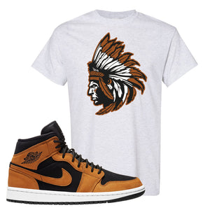 Air Jordan 1 Mid Wheat T Shirt | Indian Chief, Ash