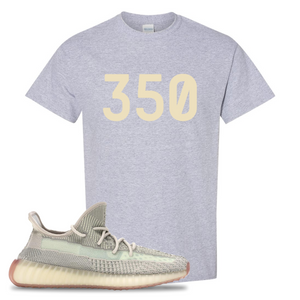 Yeezy Boost 350 V2 Citrin Non-Reflective 350 Sport Gray Sneaker Matching Tee Shirt