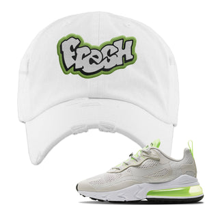 Air Max 270 React Ghost Green Sneaker White Distressed Dad Hat | Hat to match Nike Air Max 270 React Ghost Green Shoes | Fresh
