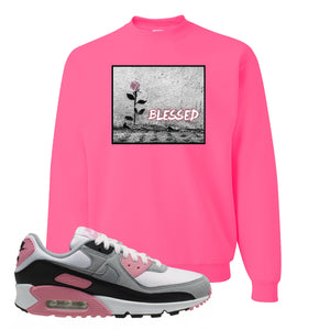 WMNS Air Max 90 Rose Pink Blessed Rose Neon Pink Crewneck Sweatshirt To Match Sneakers