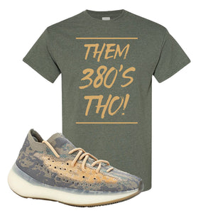 Yeezy Boost 380 Mist Sneaker Heather Military Green T Shirt | Tees to match Adidas Yeezy Boost 380 Mist Shoes | Them 380s Tho