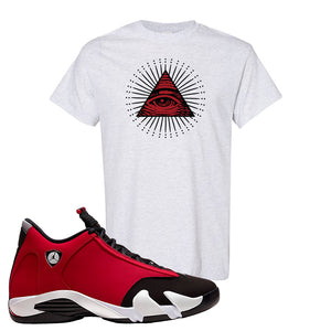 Air Jordan 14 Gym Red T Shirt | Ash, All Seeing Eye