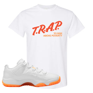 Air Jordan 11 Low Citrus T Shirt | Trap To Rise Above Poverty, White
