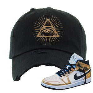 Air Jordan 1 Mid SE Metallic Gold Distressed Dad Hat | All Seeing Eye, Black