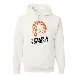 Ruthless & Toothless Pullover Hoodie | Ruthless & Toothless White Pull Over Hoodie the front of this hoodie has the ruthless and toothless design