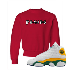 Homies Red Kid's Crewneck Sweatshirt to match Air Jordan 13 GS Playground Kids Sneakers