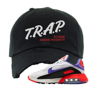 Air Max 2090 Evolution Of Icons Distressed Dad Hat | Trap To Rise Above Poverty, Black
