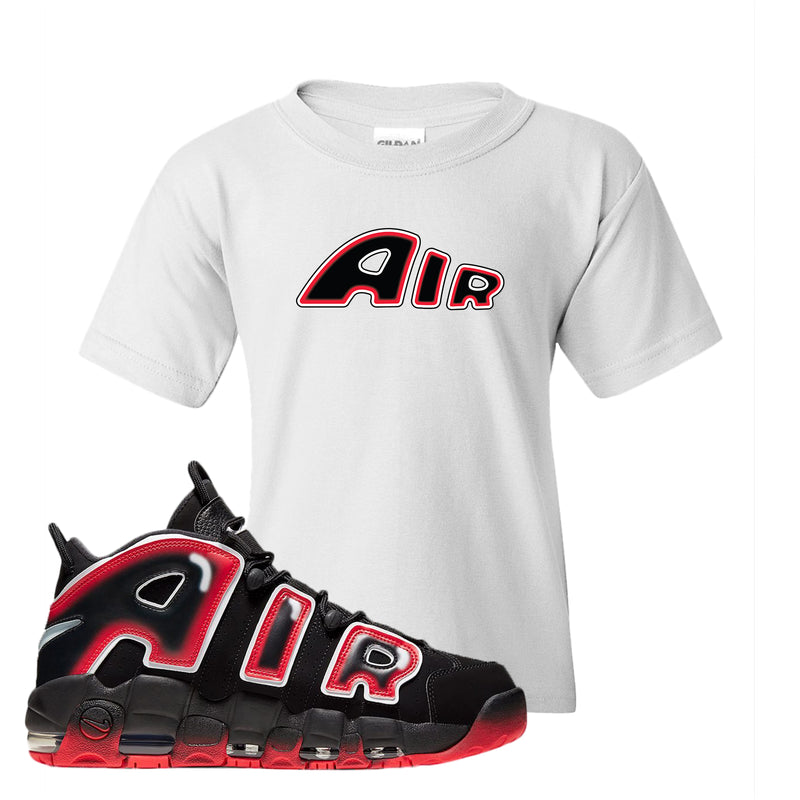 Air More Uptempo Laser Crimson Kid's T Shirt | White, Air From The Sneaker