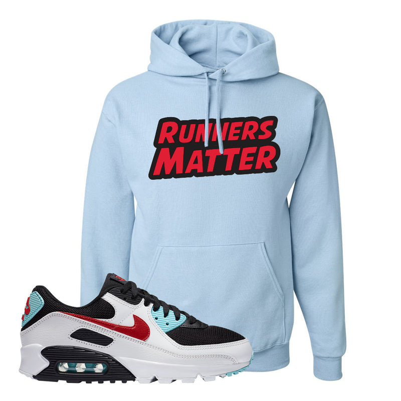 Air Max 90 Bleached Aqua and Chile Red Hoodie | Light Blue, Runners Matter