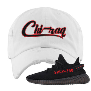 Yeezy 350 Boost V2 Bred Distressed Dad Hat | Chiraq, White