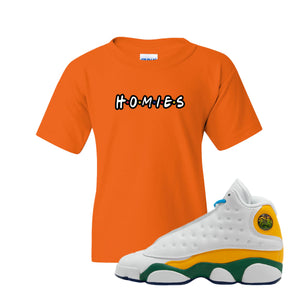 Homies Safety Orange Kid's T-Shirt to match Air Jordan 13 GS Playground Kids Sneakers