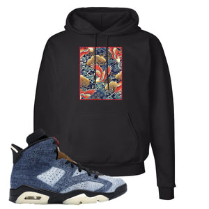Jordan 6 Washed Denim Hoodie | Black, Crane Over Water