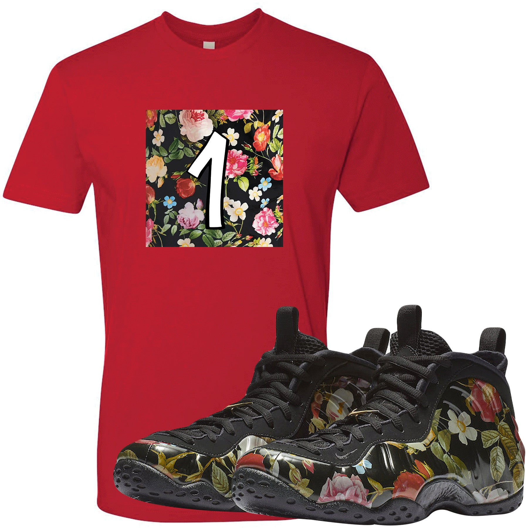 1773c68ca700d Wear this sneaker matching t-shirt to match your Air Foamposite One Floral  sneakers.