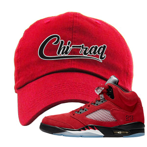 Air Jordan 5 Raging Bull Dad Hat | Chiraq, Red