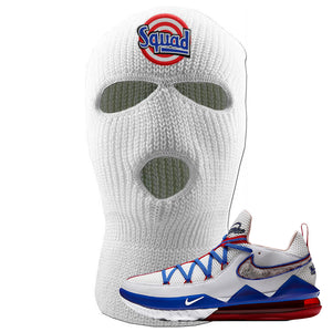 LeBron 17 Low Tune Squad Sneaker White Ski Mask | Winter Mask to match Nike LeBron 17 Low Tune Squad Shoes | Squad