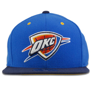 Oklahoma City Thunder Blue on Navy Mitchell and Ness High Crown Fitted Cap