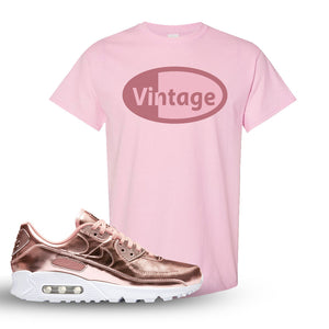 Air Max 90 WMNS 'Medal Pack' Rose Gold Sneaker Light Pink T Shirt | Tees to match Nike Air Max 90 WMNS 'Medal Pack' Rose Gold Shoes | Vintage Oval