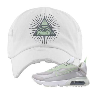 Air Max 2090 'Vast Gray' Distressed Dad Hat | White, All Seeing Eye