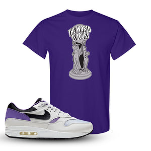 Air Max 1 DNA Series Sneaker Purple T Shirt | Tees to match Nike Air Max 1 DNA Series Shoes | The World Is Yours Statue