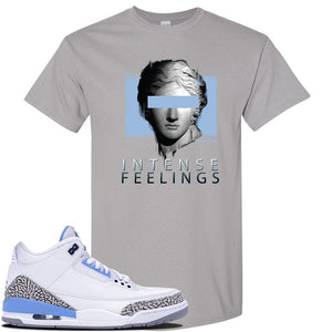 Air Jordan 3 UNC Sneaker Gravel T Shirt | Tees to match Nike Air Jordan 3 UNC Shoes | Intense Feelings