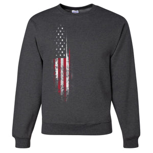Standard Issue Distressed American Flag Banner Dark Gray Grunt Life Crewneck Sweater