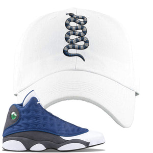 Jordan 13 Flint 2020 Sneaker White Dad Hat | Hat to match Nike Air Jordan 13 Flint 2020 Shoes | Coiled Snake