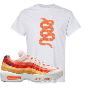 Air Max 95 Orange Snakeskin T Shirt | Coiled Snake, Ash