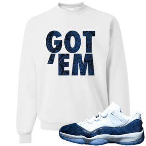 Jordan 11 Low Blue Snakeskin Got 'Em White Crewneck Sweater