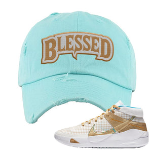 KD 13 EYBL Distressed Dad Hat | Blessed Arch, Diamond Blue