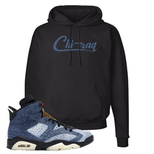 Jordan 6 Washed Denim Hoodie | Black, Chiraq