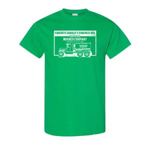 Concrete Charlie's T-Shirt | Chuck Bednarik's Concrete Mix Kelly Green T-Shirt the front of this shirt has the concrete company