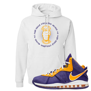 Lebron 8 Lakers Hoodie | Cash Rules Everything Around Me, White